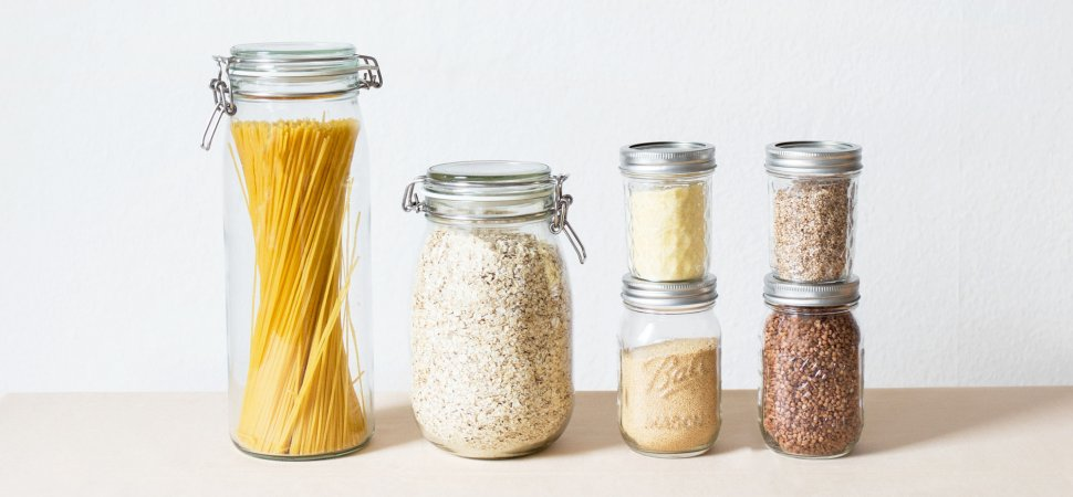 mason jars filled with food